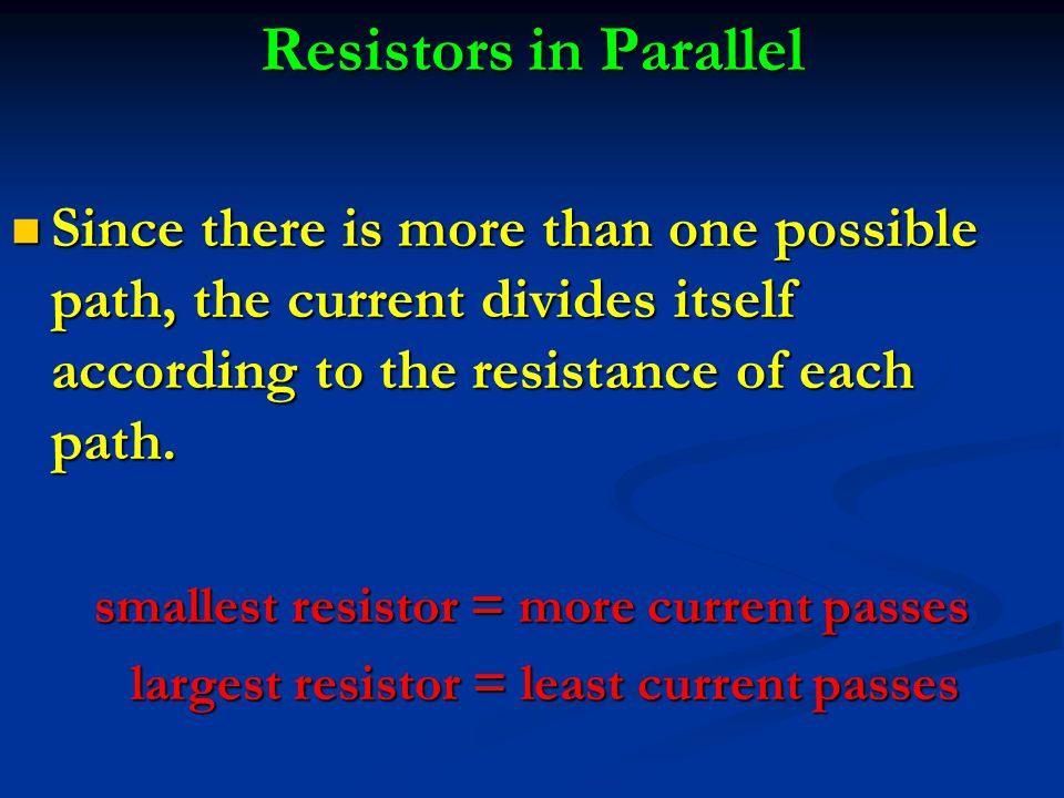 Since there is more than one possible path, the current divides itself according to the resistance of each path.