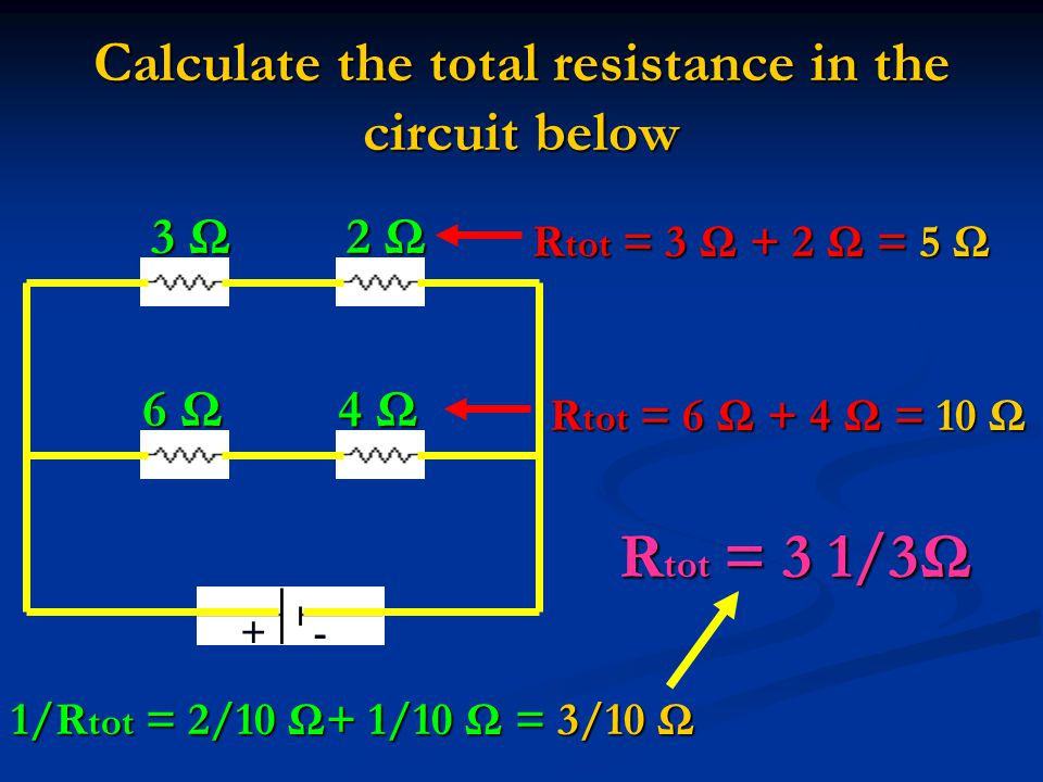 Calculate the total resistance in the circuit below +- 3 Ω 2 Ω 6 Ω 4 Ω R tot = 3 Ω + 2 Ω = 5 Ω R tot = 6 Ω + 4 Ω = 10 Ω 1/R tot = 2/10 Ω+ 1/10 Ω = 3/10 Ω R tot = 3 1/3Ω