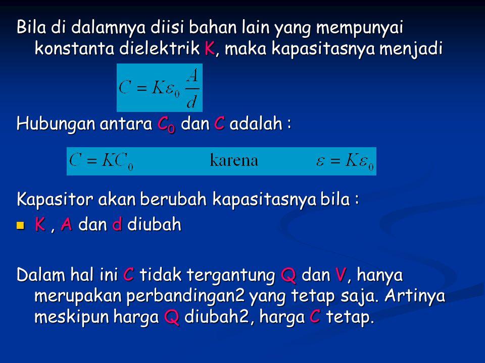 Bila di dalamnya diisi bahan lain yang mempunyai konstanta dielektrik K, maka kapasitasnya menjadi Hubungan antara C 0 dan C adalah : Kapasitor akan berubah kapasitasnya bila : K, A dan d diubah K, A dan d diubah Dalam hal ini C tidak tergantung Q dan V, hanya merupakan perbandingan2 yang tetap saja.