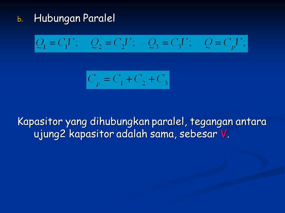 b. Hubungan Paralel Kapasitor yang dihubungkan paralel, tegangan antara ujung2 kapasitor adalah sama, sebesar V.