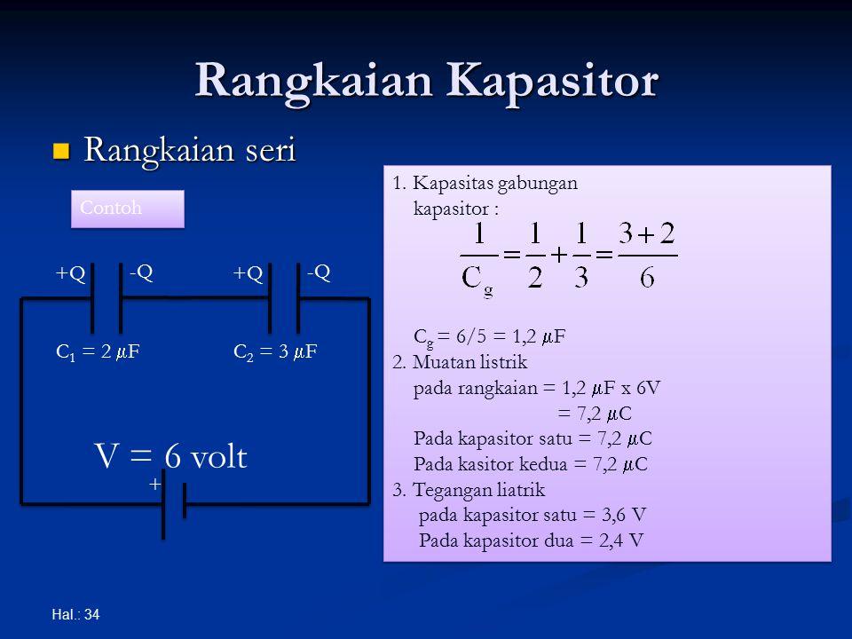 Rangkaian Kapasitor Rangkaian seri Rangkaian seri Hal.: 34 + V = 6 volt +Q -Q +Q -Q C 1 = 2  FC 2 = 3  F Contoh 1. Kapasitas gabungan kapasitor : C