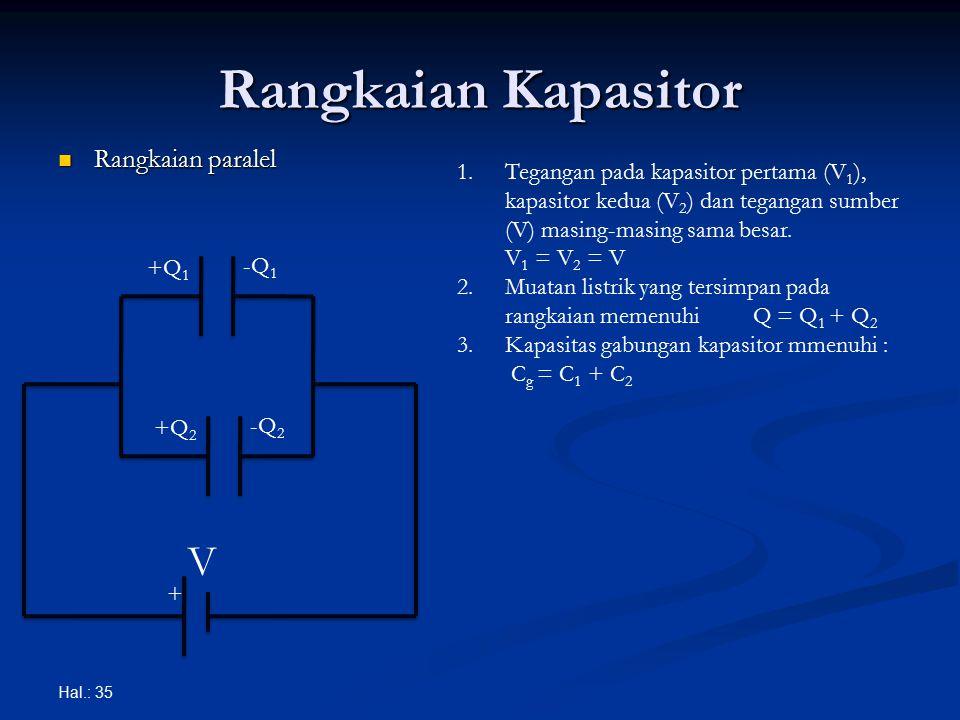 Rangkaian Kapasitor Rangkaian paralel Rangkaian paralel Hal.: 35 + V +Q 1 -Q 1 +Q 2 -Q 2 1.Tegangan pada kapasitor pertama (V 1 ), kapasitor kedua (V 2 ) dan tegangan sumber (V) masing-masing sama besar.