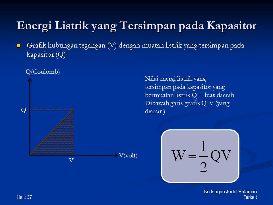 Energi Listrik yang Tersimpan pada Kapasitor Grafik hubungan tegangan (V) dengan muatan listrik yang tersimpan pada kapasitor (Q) Grafik hubungan tega