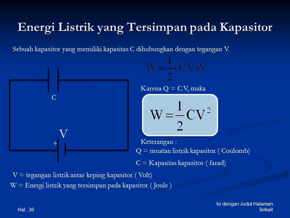 Energi Listrik yang Tersimpan pada Kapasitor Hal.: 38 Isi dengan Judul Halaman Terkait + V Sebuah kapasitor yang memiliki kapasitas C dihubungkan deng