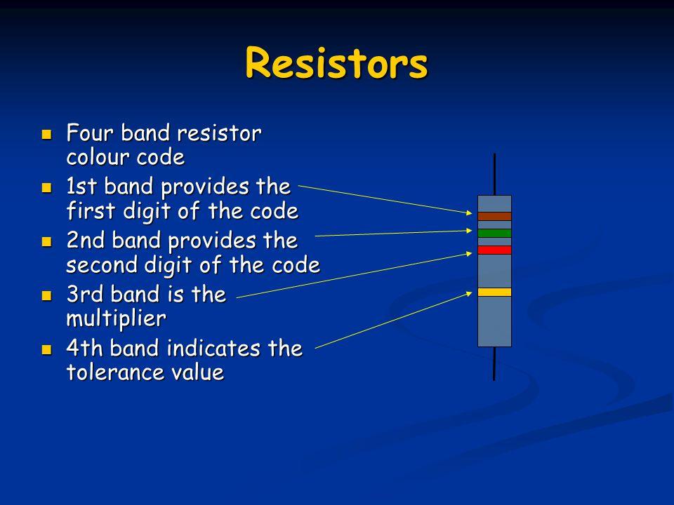 Resistors Four band resistor colour code Four band resistor colour code 1st band provides the first digit of the code 1st band provides the first digi