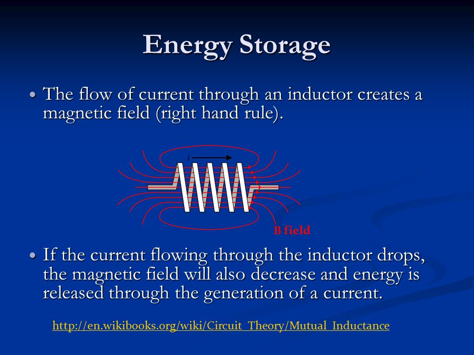 Energy Storage The flow of current through an inductor creates a magnetic field (right hand rule).