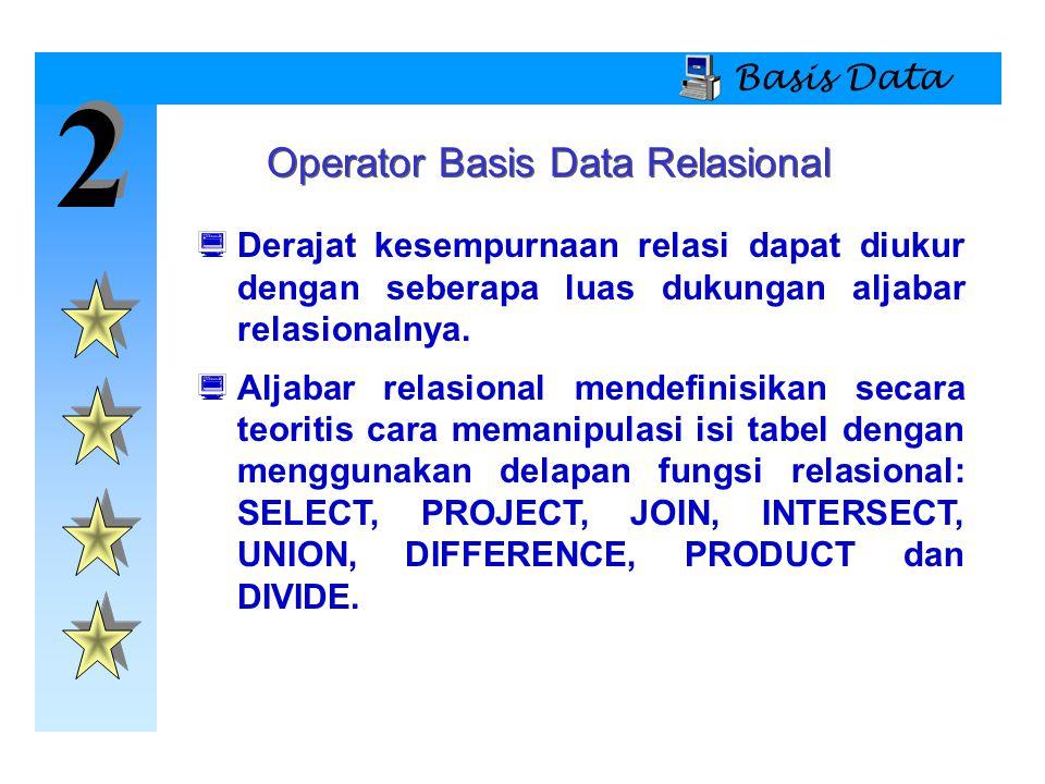 2 2 Basis Data  Derajat kesempurnaan relasi dapat diukur dengan seberapa luas dukungan aljabar relasionalnya.  Aljabar relasional mendefinisikan sec