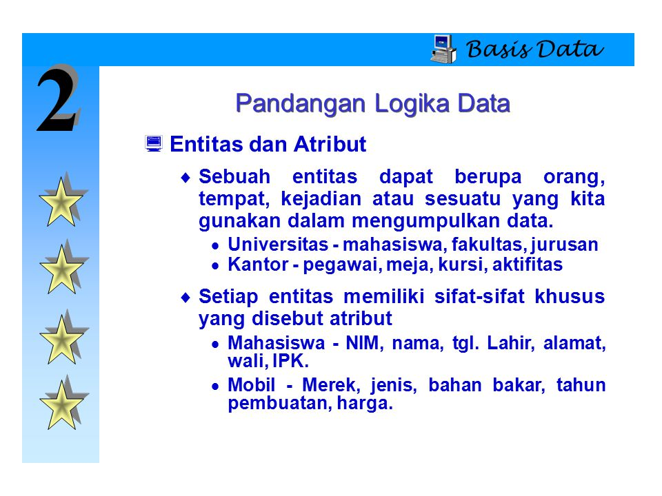 2 2 Basis Data Pandangan Logika Data  Entitas dan Atribut  Sebuah entitas dapat berupa orang, tempat, kejadian atau sesuatu yang kita gunakan dalam
