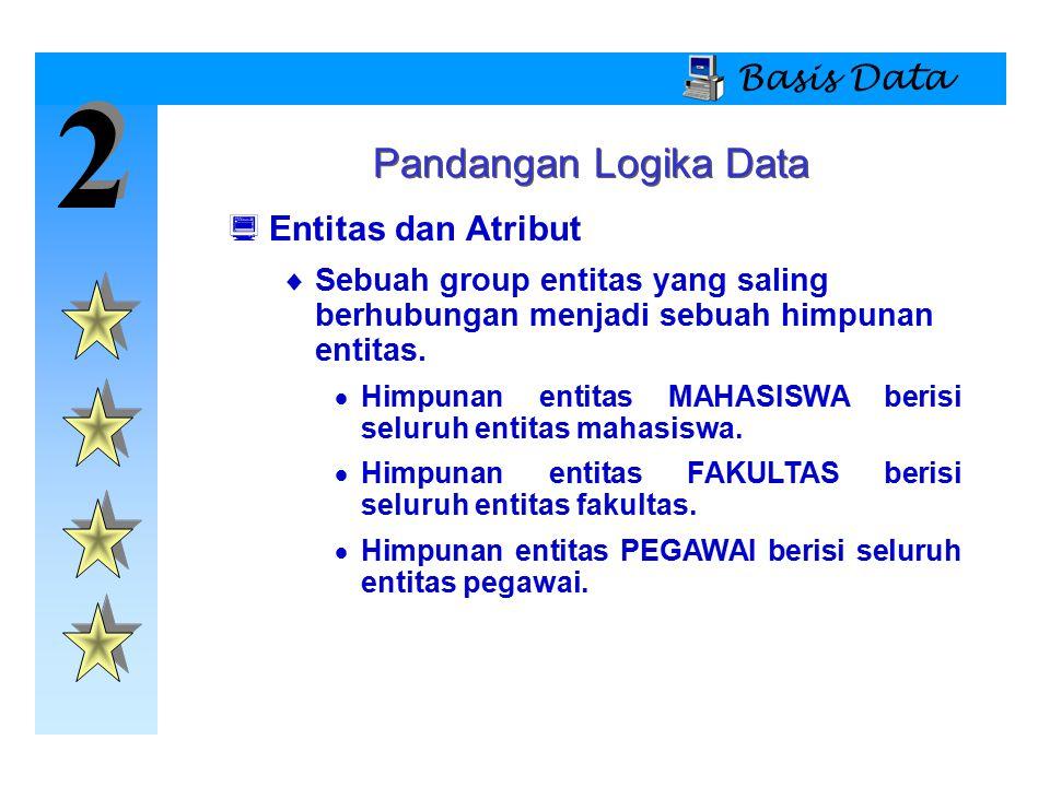 2 2 Basis Data Pandangan Logika Data  Entitas dan Atribut  Sebuah group entitas yang saling berhubungan menjadi sebuah himpunan entitas.  Himpunan