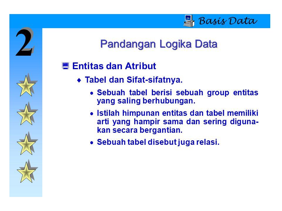 2 2 Basis Data Pandangan Logika Data  Entitas dan Atribut  Tabel dan Sifat-sifatnya.  Sebuah tabel berisi sebuah group entitas yang saling berhubun