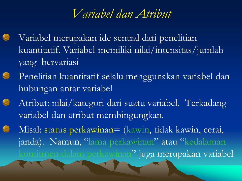 Variabel dan Atribut Variabel merupakan ide sentral dari penelitian kuantitatif. Variabel memiliki nilai/intensitas/jumlah yang bervariasi Penelitian
