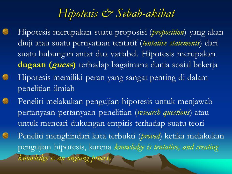 Hipotesis & Sebab-akibat Hipotesis merupakan suatu proposisi (proposition) yang akan diuji atau suatu pernyataan tentatif (tentative statements) dari suatu hubungan antar dua variabel.