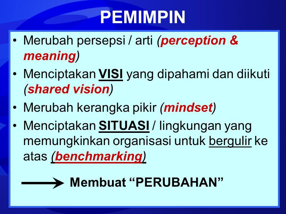 PEMIMPIN Merubah persepsi / arti (perception & meaning) Menciptakan VISI yang dipahami dan diikuti (shared vision) Merubah kerangka pikir (mindset) Me