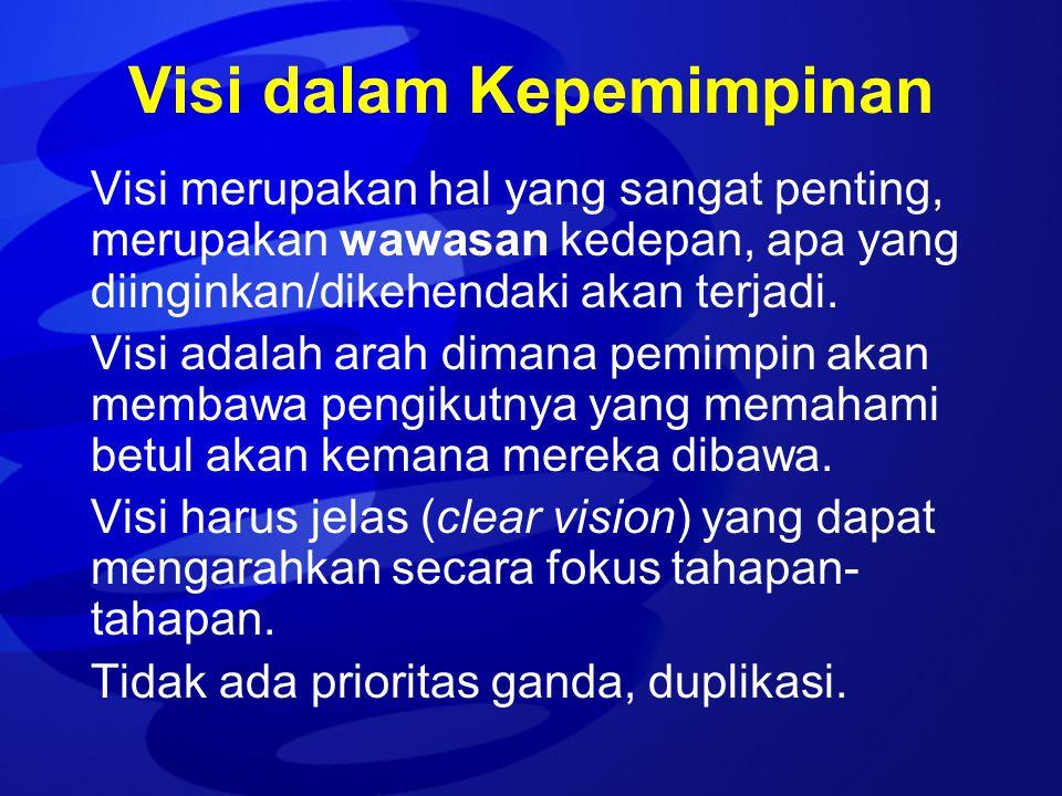 Visi dalam Kepemimpinan Visi merupakan hal yang sangat penting, merupakan wawasan kedepan, apa yang diinginkan/dikehendaki akan terjadi. Visi adalah a