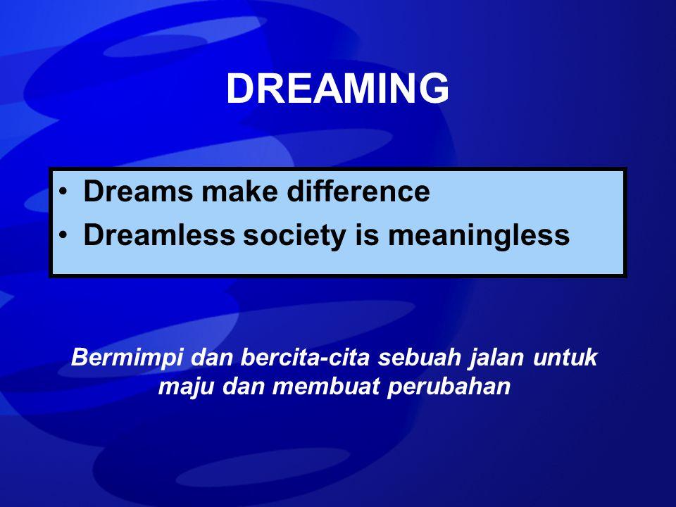 DREAMING Dreams make difference Dreamless society is meaningless Bermimpi dan bercita-cita sebuah jalan untuk maju dan membuat perubahan