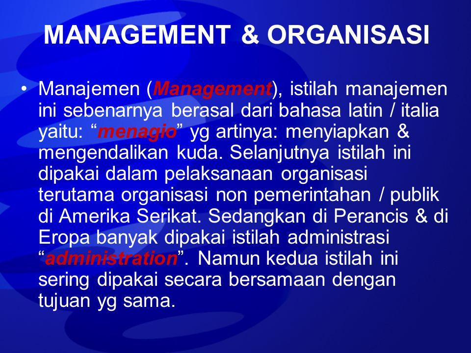 """Manajemen (Management), istilah manajemen ini sebenarnya berasal dari bahasa latin / italia yaitu: """"menagio"""" yg artinya: menyiapkan & mengendalikan ku"""