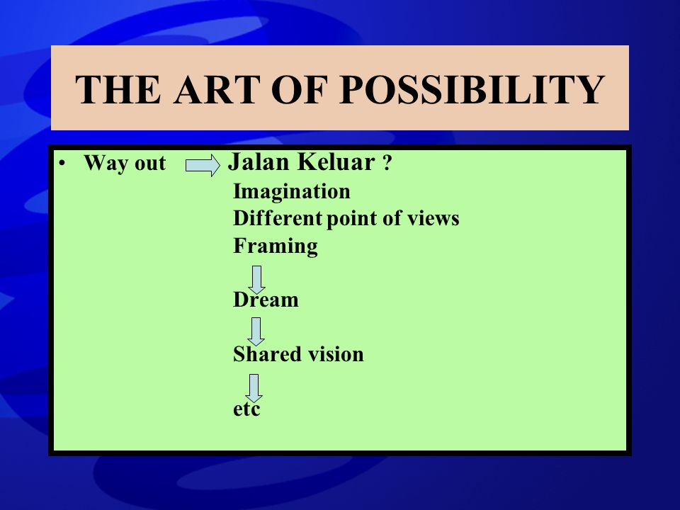 Way out Jalan Keluar ? Imagination Different point of views Framing Dream Shared vision etc THE ART OF POSSIBILITY