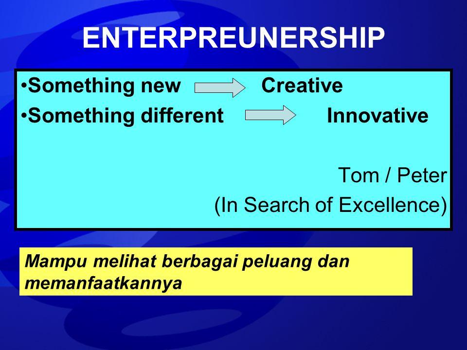 ENTERPREUNERSHIP Something new Creative Something different Innovative Tom / Peter (In Search of Excellence) Mampu melihat berbagai peluang dan memanf