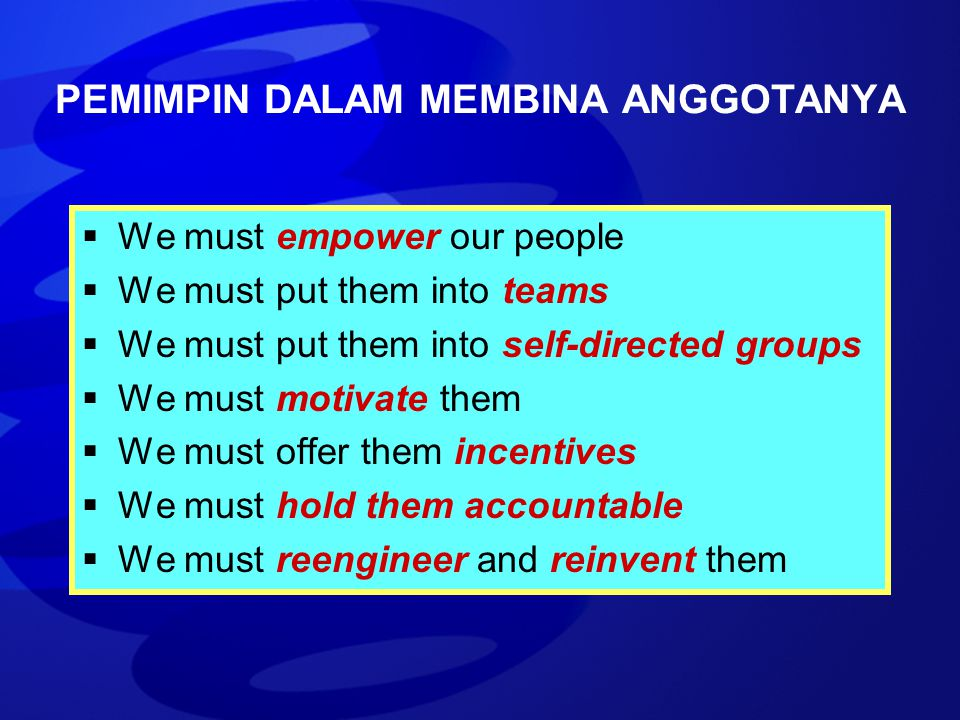 PEMIMPIN DALAM MEMBINA ANGGOTANYA  We must empower our people  We must put them into teams  We must put them into self-directed groups  We must mo