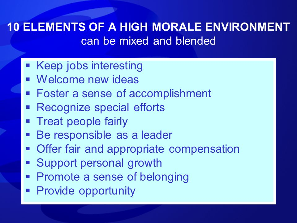 10 ELEMENTS OF A HIGH MORALE ENVIRONMENT can be mixed and blended  Keep jobs interesting  Welcome new ideas  Foster a sense of accomplishment  Rec