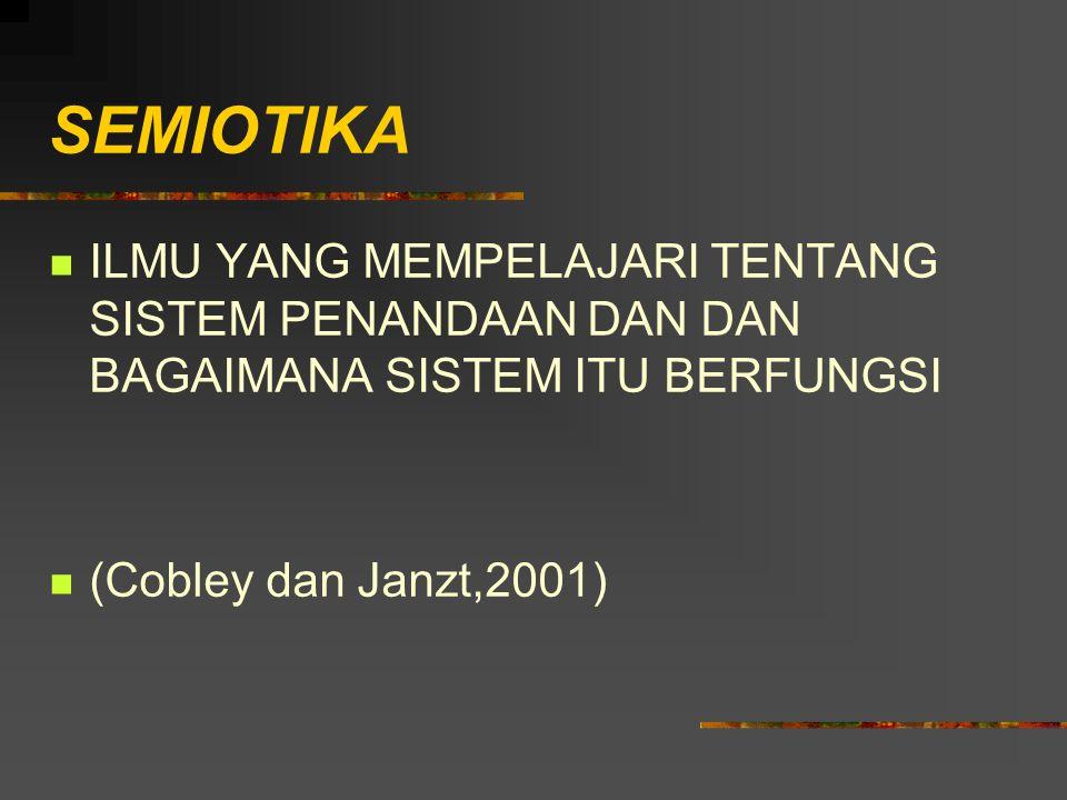 SEMIOTIKA ILMU YANG MEMPELAJARI TENTANG SISTEM PENANDAAN DAN DAN BAGAIMANA SISTEM ITU BERFUNGSI (Cobley dan Janzt,2001)