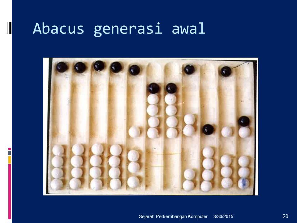 Abacus generasi awal 3/30/2015Sejarah Perkembangan Komputer 20