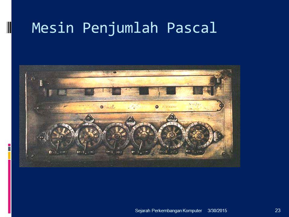 Mesin Penjumlah Pascal 3/30/2015Sejarah Perkembangan Komputer 23