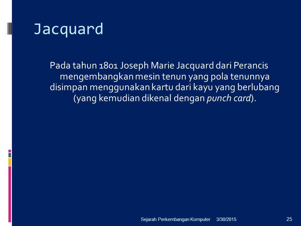 Jacquard Pada tahun 1801 Joseph Marie Jacquard dari Perancis mengembangkan mesin tenun yang pola tenunnya disimpan menggunakan kartu dari kayu yang be