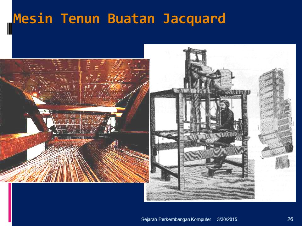 Mesin Tenun Buatan Jacquard 3/30/2015Sejarah Perkembangan Komputer 26