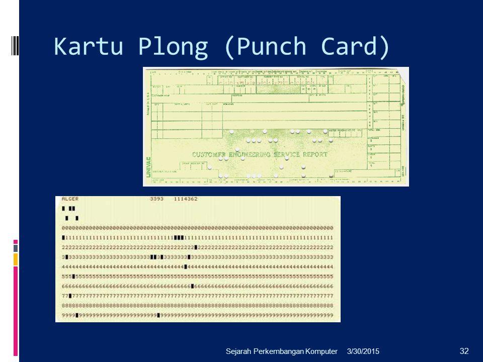 Kartu Plong (Punch Card) 3/30/2015Sejarah Perkembangan Komputer 32
