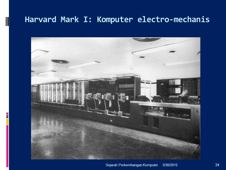 Harvard Mark I: Komputer electro-mechanis 3/30/2015Sejarah Perkembangan Komputer 34