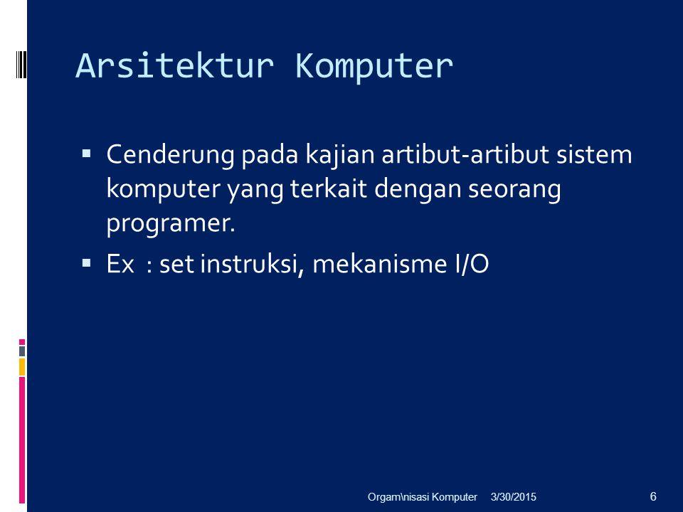 Arsitektur Komputer  Cenderung pada kajian artibut-artibut sistem komputer yang terkait dengan seorang programer.  Ex : set instruksi, mekanisme I/O
