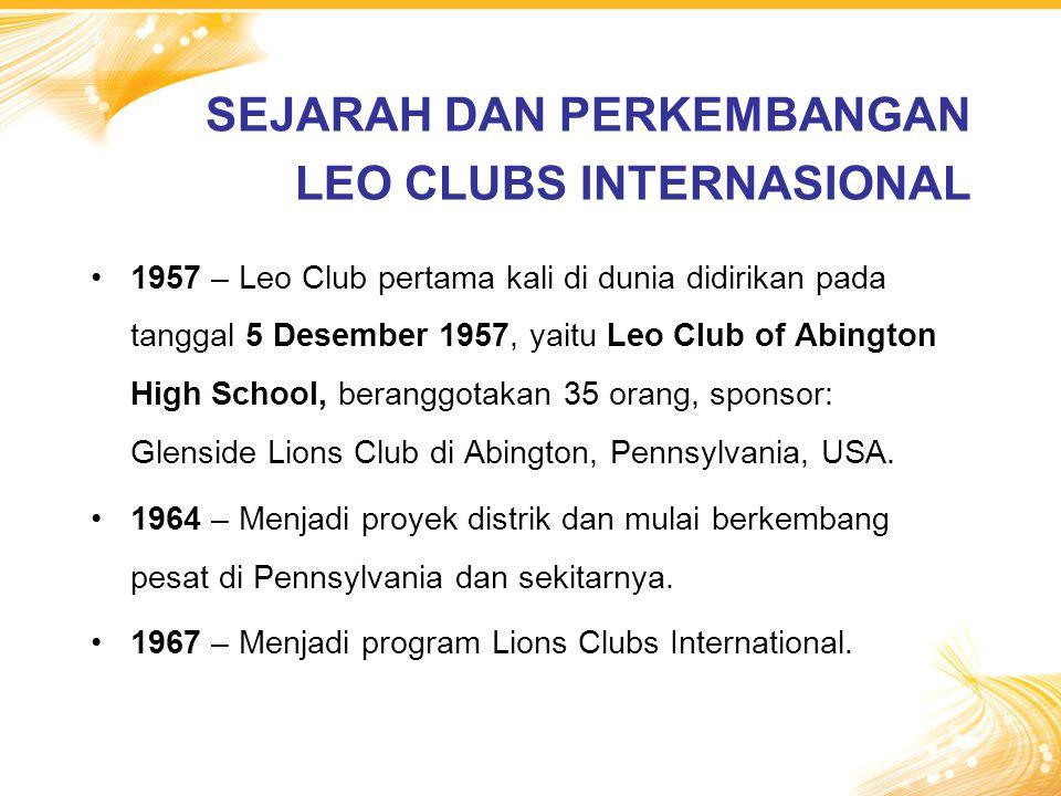 1957 – Leo Club pertama kali di dunia didirikan pada tanggal 5 Desember 1957, yaitu Leo Club of Abington High School, beranggotakan 35 orang, sponsor: Glenside Lions Club di Abington, Pennsylvania, USA.
