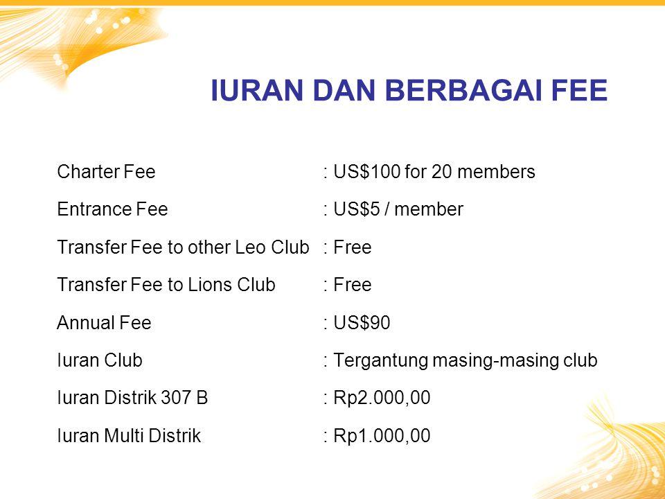 Charter Fee: US$100 for 20 members Entrance Fee: US$5 / member Transfer Fee to other Leo Club: Free Transfer Fee to Lions Club: Free Annual Fee: US$90