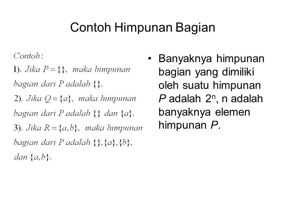 Contoh Himpunan Bagian Banyaknya himpunan bagian yang dimiliki oleh suatu himpunan P adalah 2 n, n adalah banyaknya elemen himpunan P.