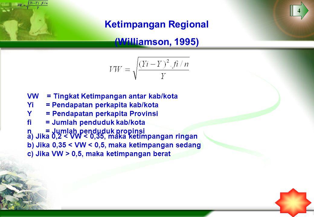 4 Ketimpangan Regional (Williamson, 1995) VW = Tingkat Ketimpangan antar kab/kota Yi = Pendapatan perkapita kab/kota Y = Pendapatan perkapita Provinsi