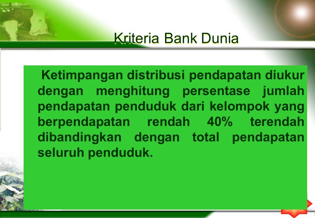 Kriteria Bank Dunia Ketimpangan distribusi pendapatan diukur dengan menghitung persentase jumlah pendapatan penduduk dari kelompok yang berpendapatan