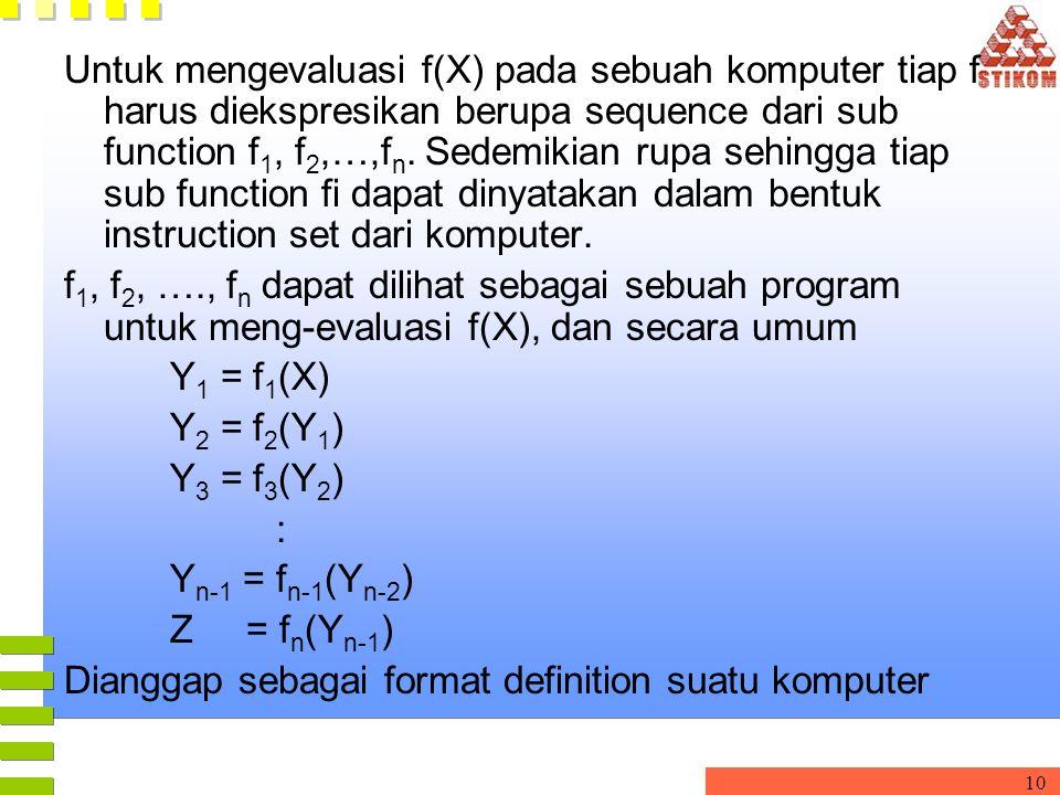 10 Untuk mengevaluasi f(X) pada sebuah komputer tiap f harus diekspresikan berupa sequence dari sub function f 1, f 2,…,f n. Sedemikian rupa sehingga
