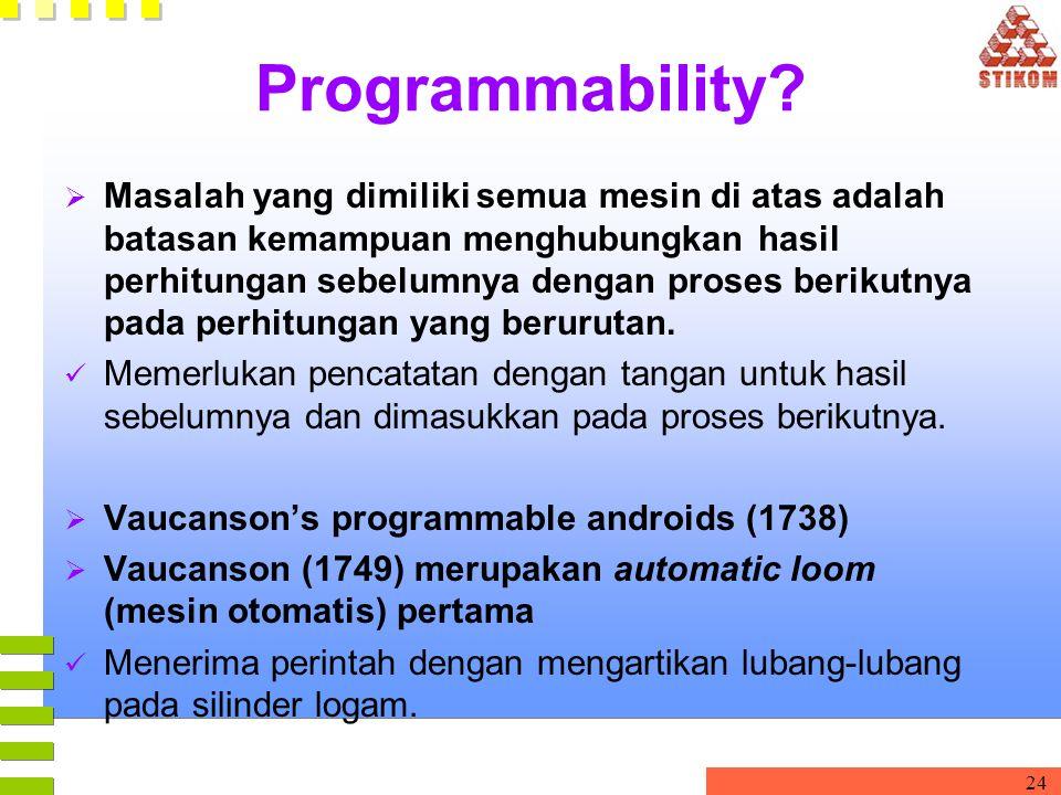 24 Programmability?  Masalah yang dimiliki semua mesin di atas adalah batasan kemampuan menghubungkan hasil perhitungan sebelumnya dengan proses beri