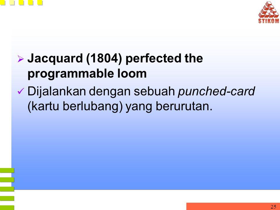 25  Jacquard (1804) perfected the programmable loom Dijalankan dengan sebuah punched-card (kartu berlubang) yang berurutan.