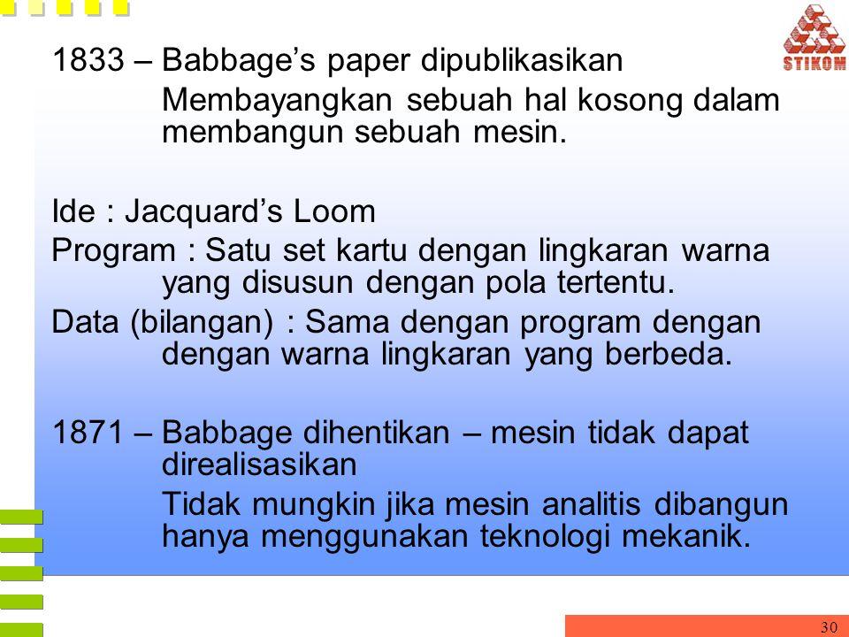 30 1833 – Babbage's paper dipublikasikan Membayangkan sebuah hal kosong dalam membangun sebuah mesin. Ide : Jacquard's Loom Program : Satu set kartu d