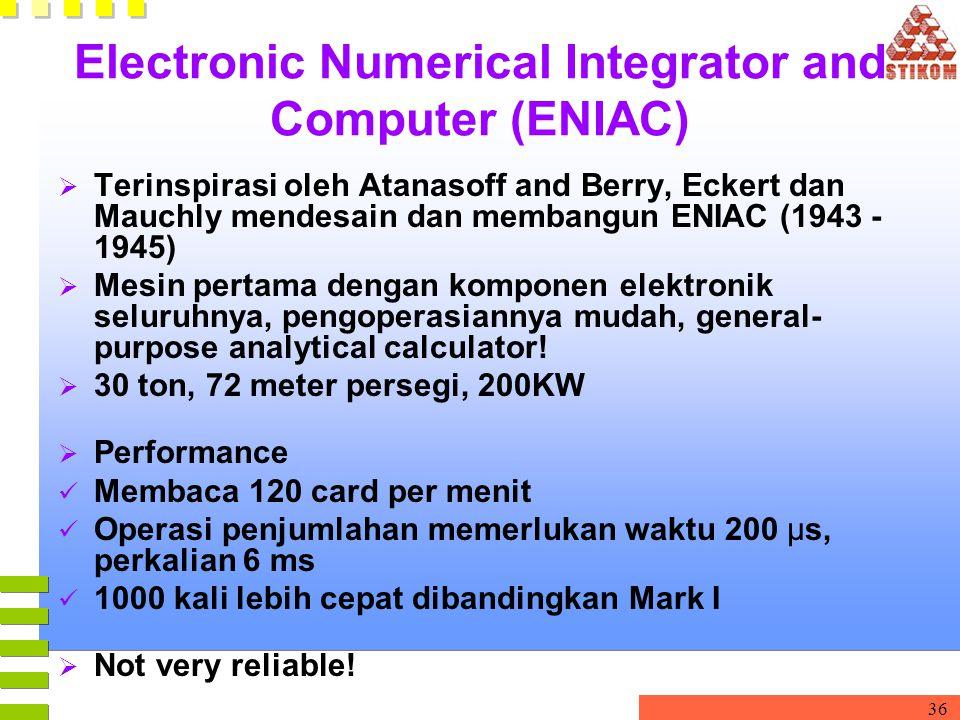 36 Electronic Numerical Integrator and Computer (ENIAC)  Terinspirasi oleh Atanasoff and Berry, Eckert dan Mauchly mendesain dan membangun ENIAC (194