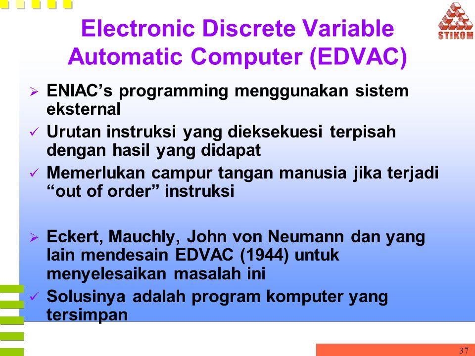 37 Electronic Discrete Variable Automatic Computer (EDVAC)  ENIAC's programming menggunakan sistem eksternal Urutan instruksi yang dieksekuesi terpis
