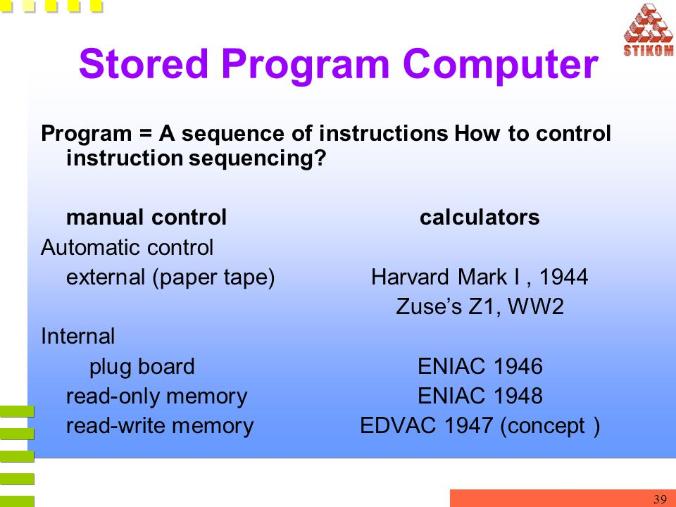 39 Stored Program Computer Program = A sequence of instructions How to control instruction sequencing? manual control calculators Automatic control ex