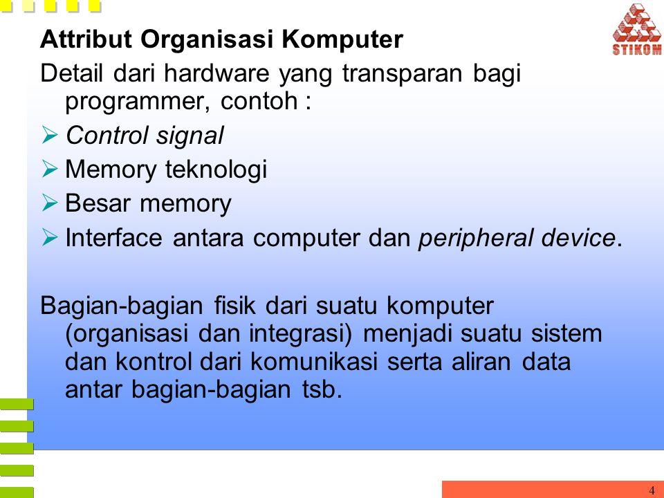 4 Attribut Organisasi Komputer Detail dari hardware yang transparan bagi programmer, contoh :  Control signal  Memory teknologi  Besar memory  Int