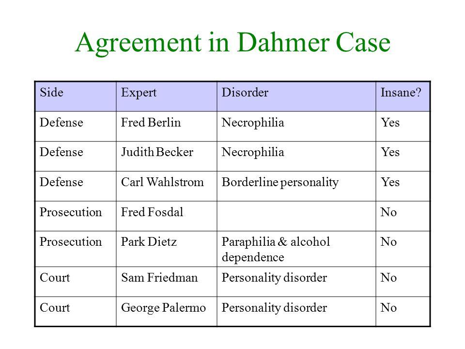 Agreement in Dahmer Case SideExpertDisorderInsane? DefenseFred BerlinNecrophiliaYes DefenseJudith BeckerNecrophiliaYes DefenseCarl WahlstromBorderline