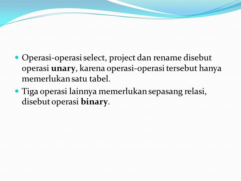 Operasi-operasi select, project dan rename disebut operasi unary, karena operasi-operasi tersebut hanya memerlukan satu tabel. Tiga operasi lainnya me