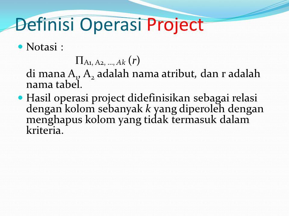 Definisi Operasi Project Notasi : Π A1, A2, …, Ak (r) di mana A 1, A 2 adalah nama atribut, dan r adalah nama tabel. Hasil operasi project didefinisik