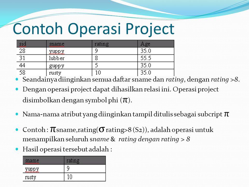 Contoh Operasi Project Seandainya diinginkan semua daftar sname dan rating, dengan rating >8. Dengan operasi project dapat dihasilkan relasi ini. Oper