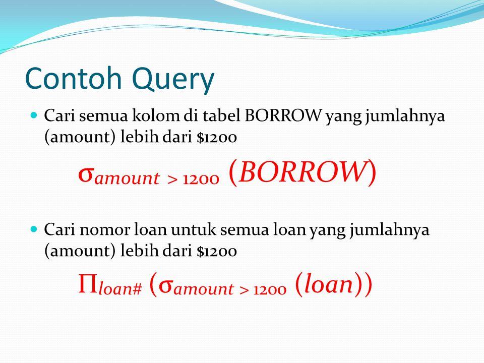 Contoh Query Cari semua kolom di tabel BORROW yang jumlahnya (amount) lebih dari $1200 σ amount > 1200 (BORROW) Cari nomor loan untuk semua loan yang